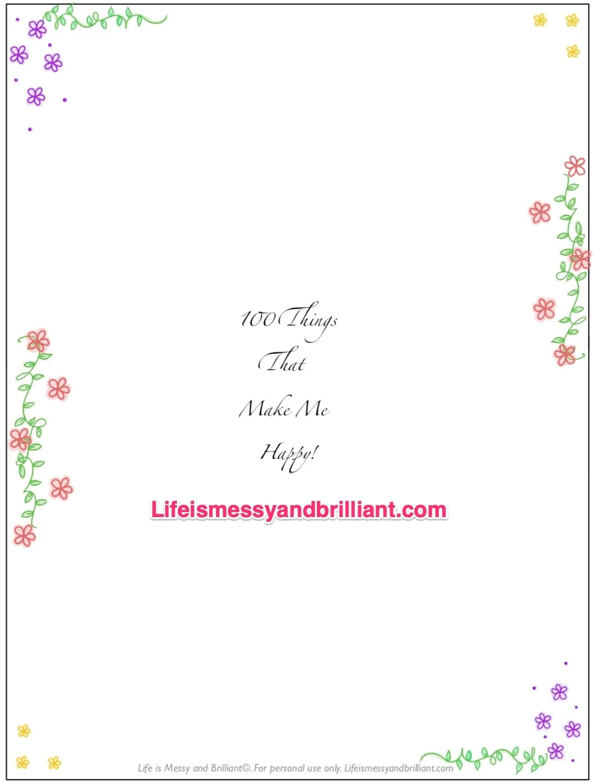 Free 100 Things That Make Me Happy Bullet Journal Printable
