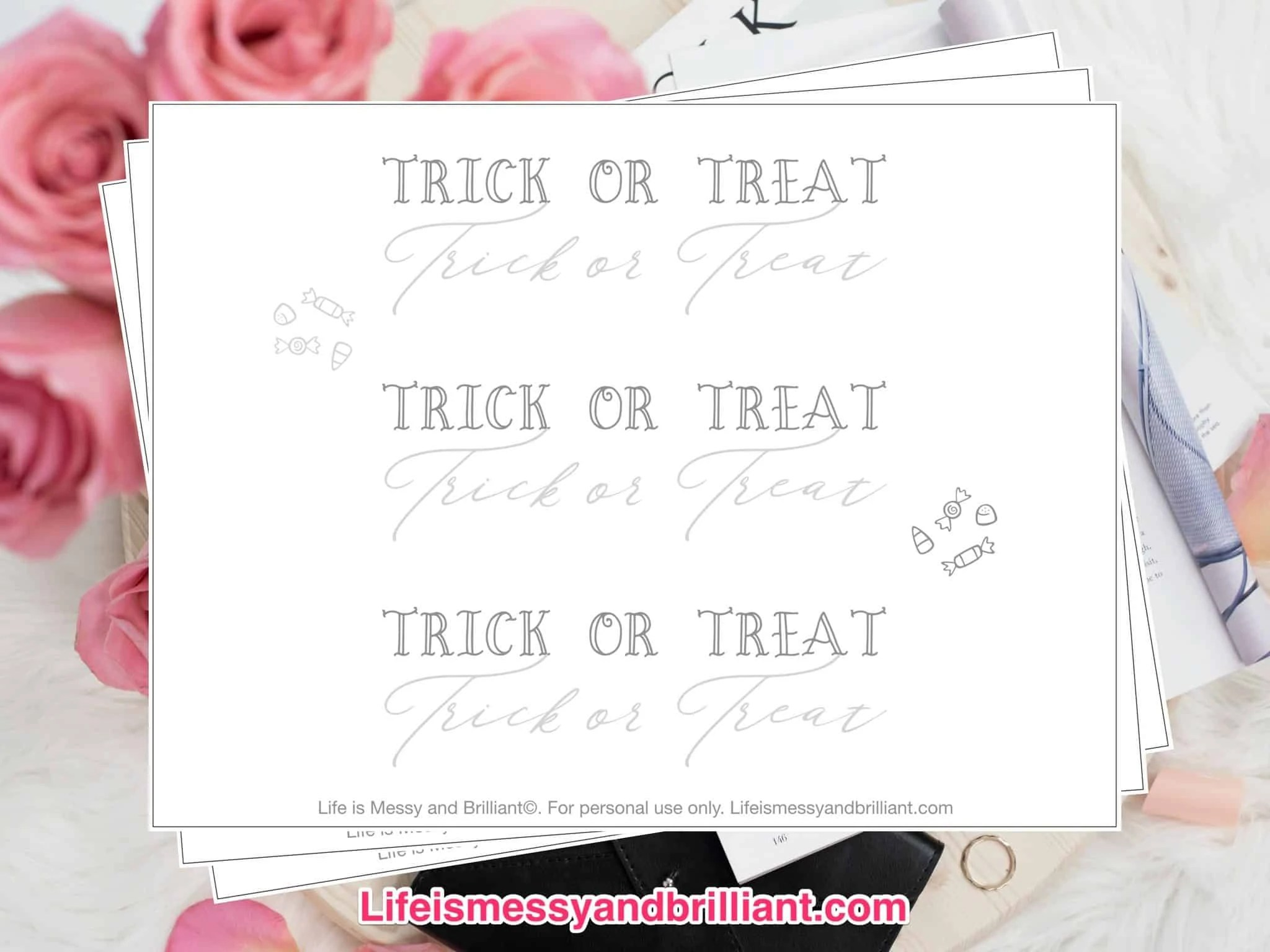 Free Trick Or Treat Lettering Printable