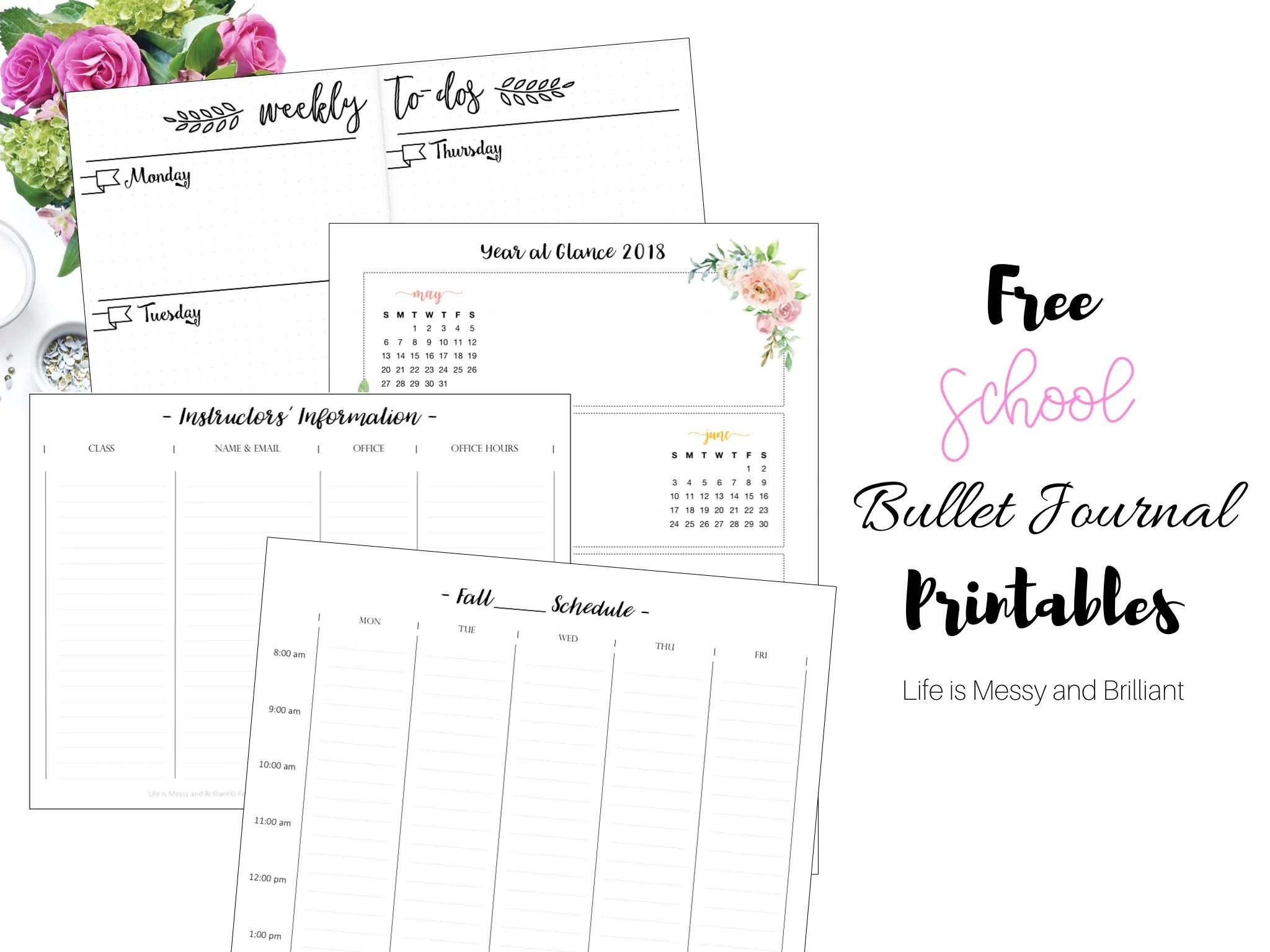 free bullet journal printables