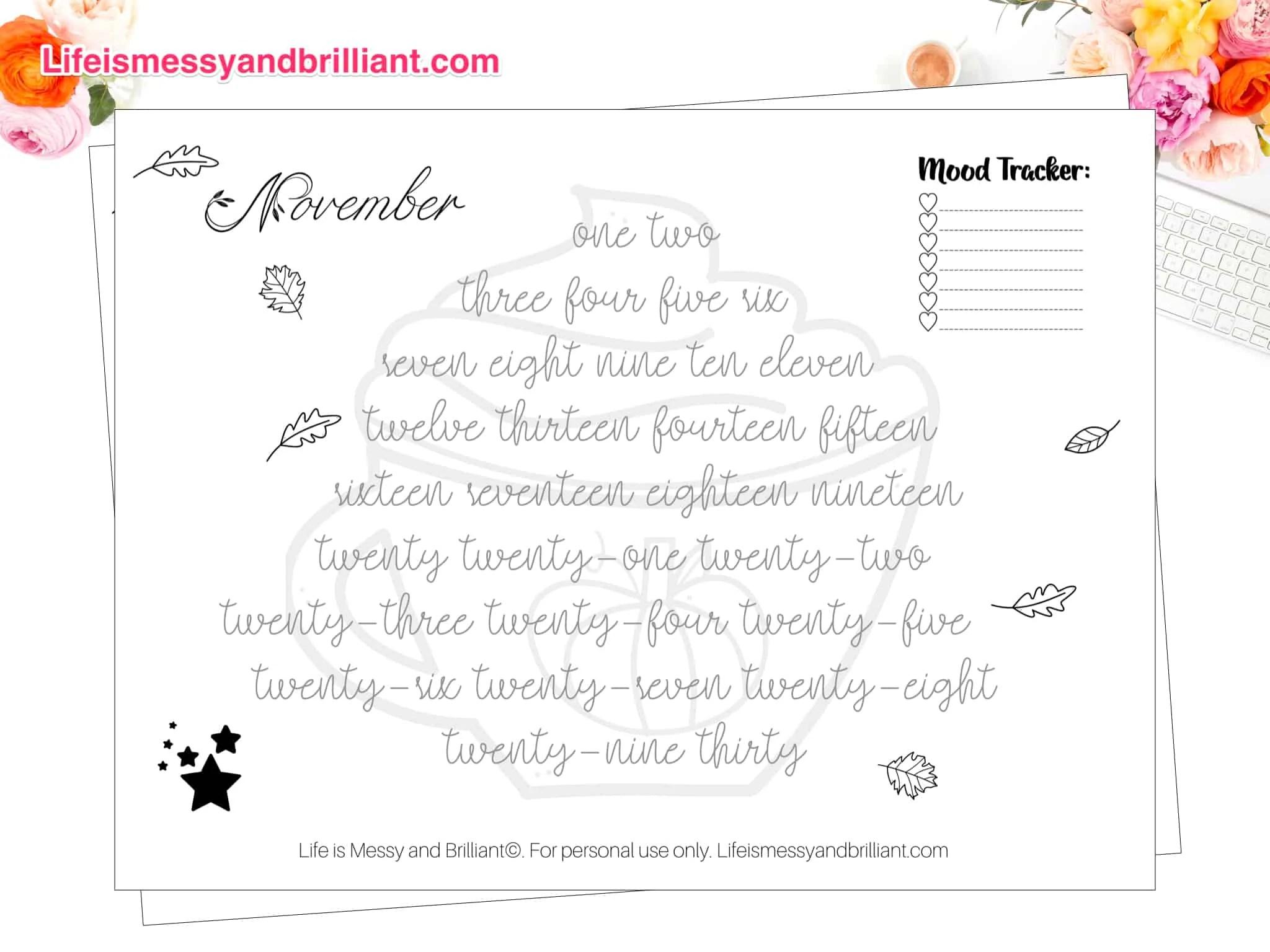 Free Bullet Journal Mood Tracker Printables