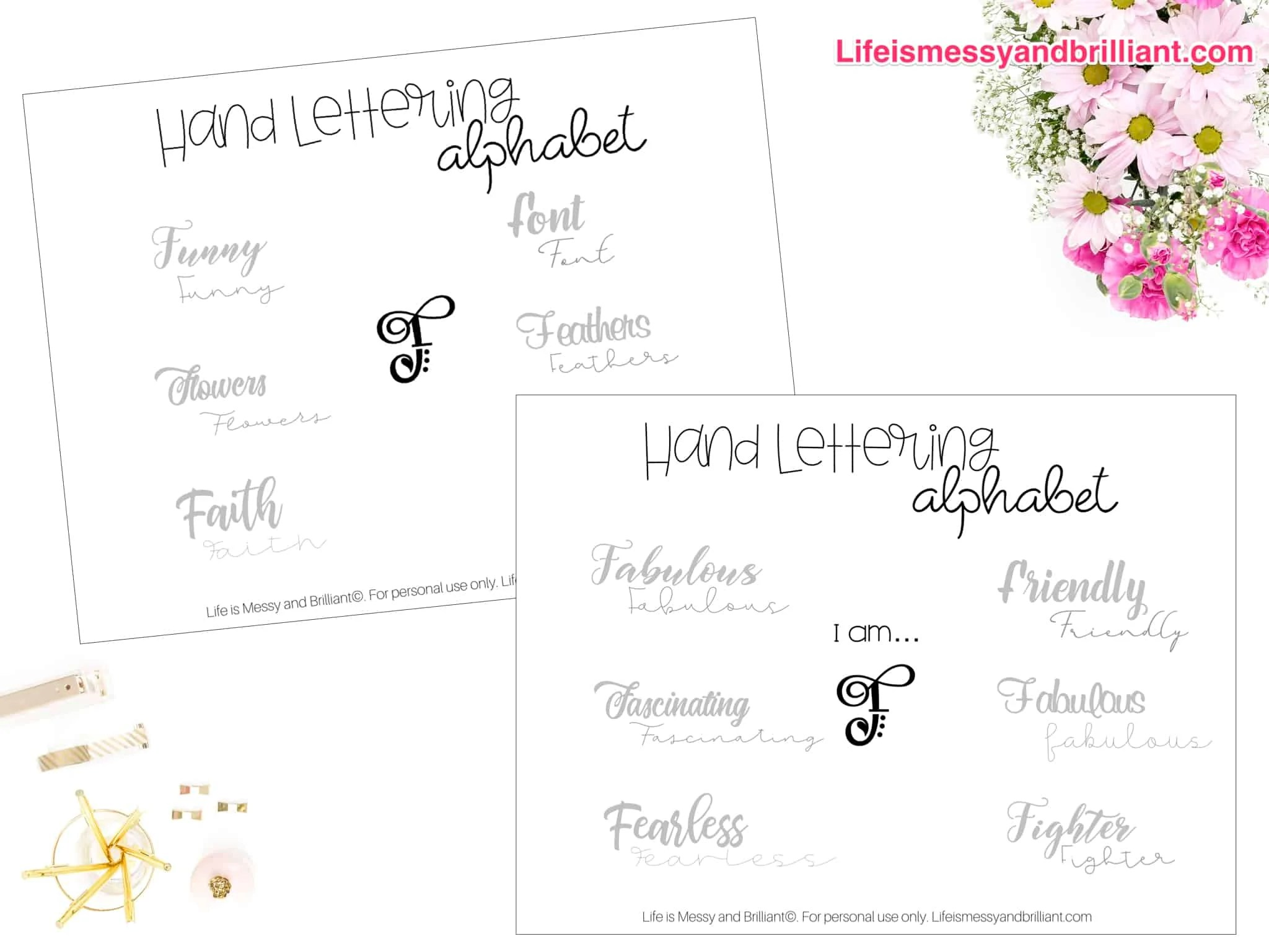 Free Letter F Hand Lettering Alphabet Printable