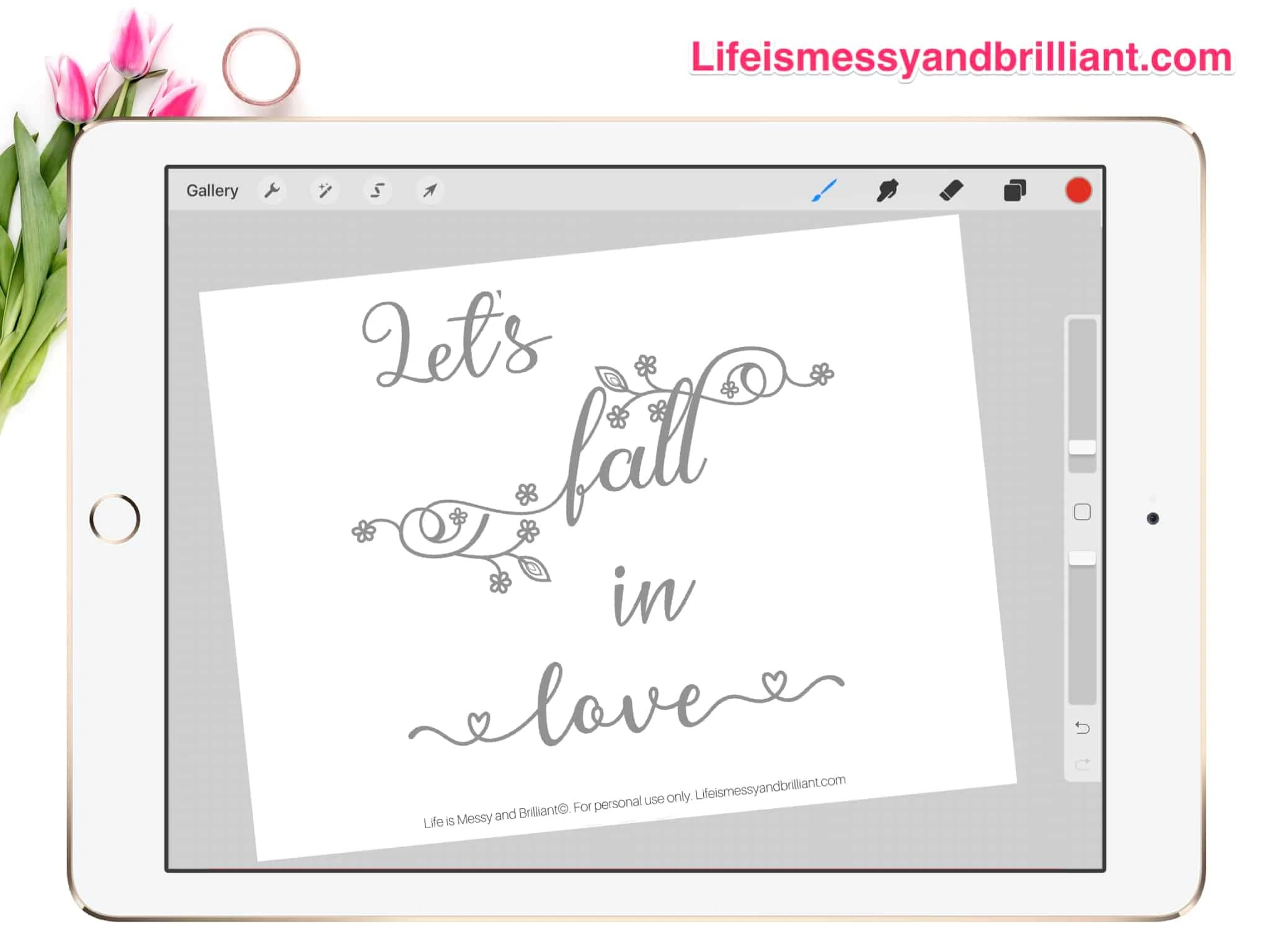 Free Fall In Love Hand Lettering Practice Worksheet