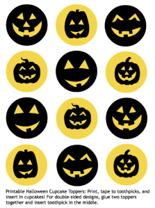 FREE Printable Fall or Halloween Cupcake Toppers