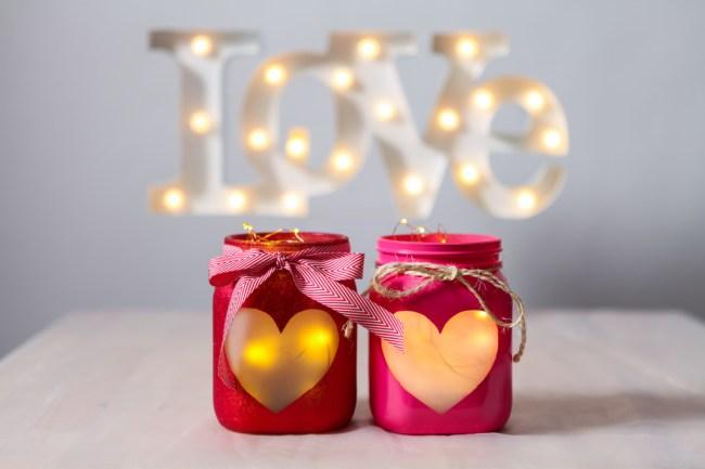 DIY Valentines day Heart Jars