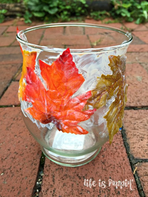 Easy Fall Mason Jar Candle Holder- glued