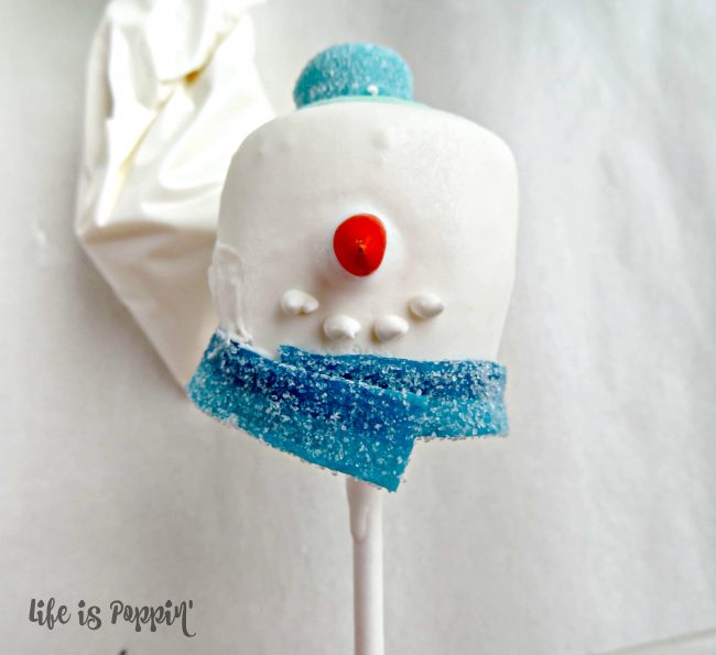 Snowman easy cake pops scarf