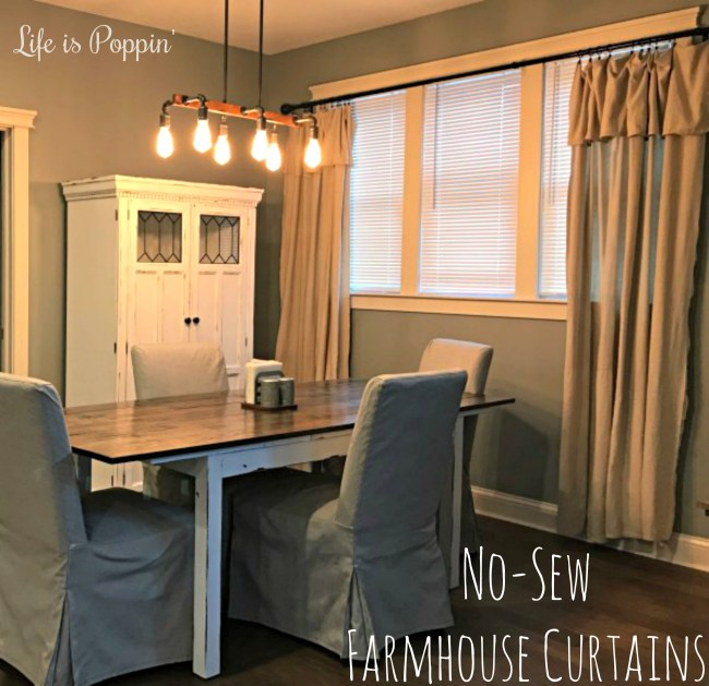 No-Sew Farmhouse Style Curtains