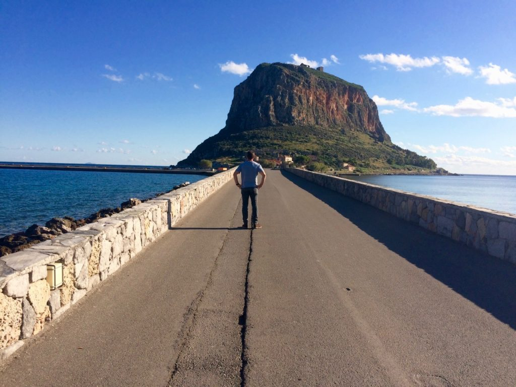 2 lane causeway with stone fendering linking the mainland to old town Monemvasia