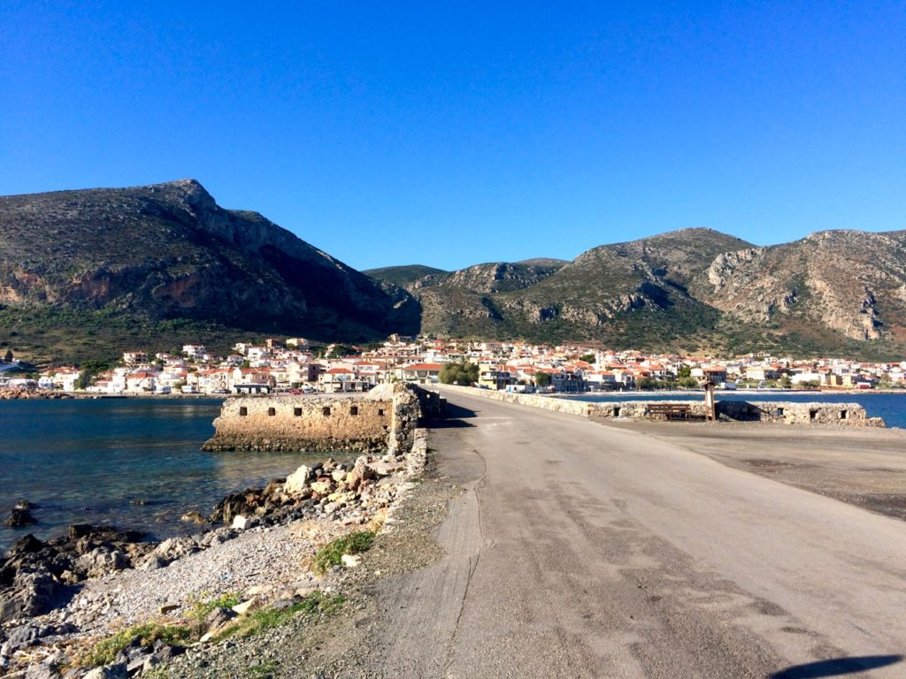 Monemvasia causeway looking from old town Monemvasia across the causeway to the mainland new town