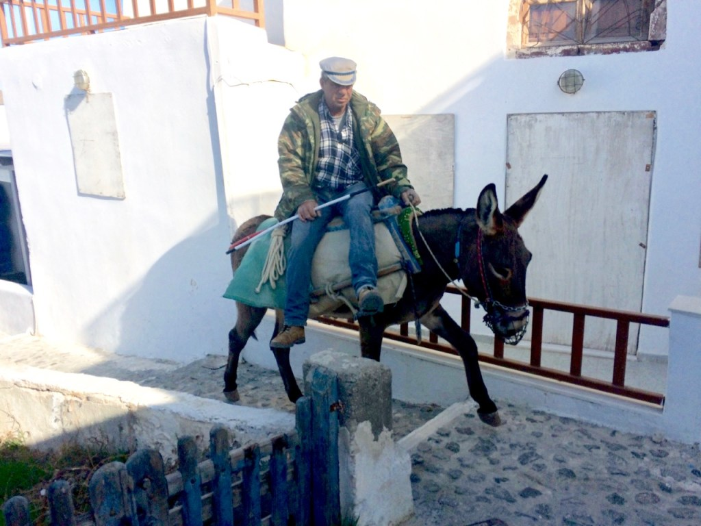 Old man riding a donkey in the side saddle position up a paved pathway amongst white washed buildings