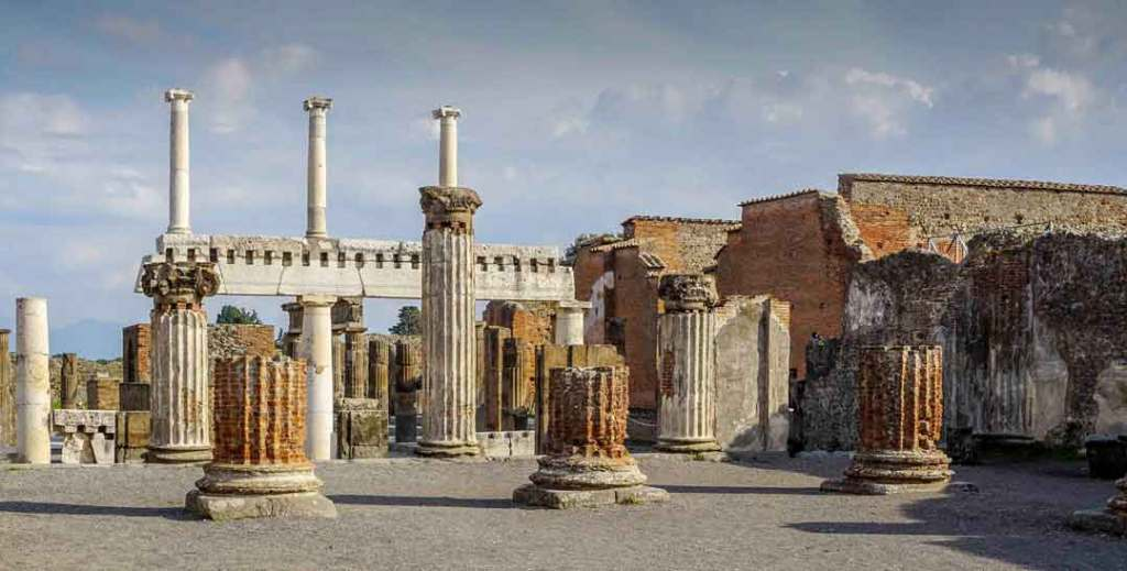 Massive stone ruins of buildings and columns