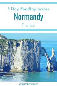 Normandy pinterest pin with the photo of Etretat carved out cliffs