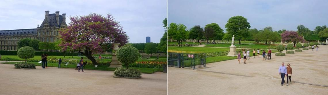 The Louvre buildings seen from the eastern end of the gardens; Beautiful gardens to behold