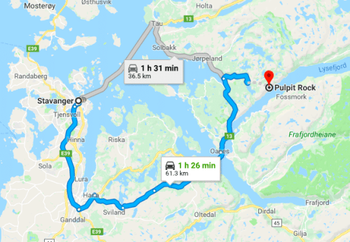 Map showing road / ferry routes to Pulpit Rock in Norway
