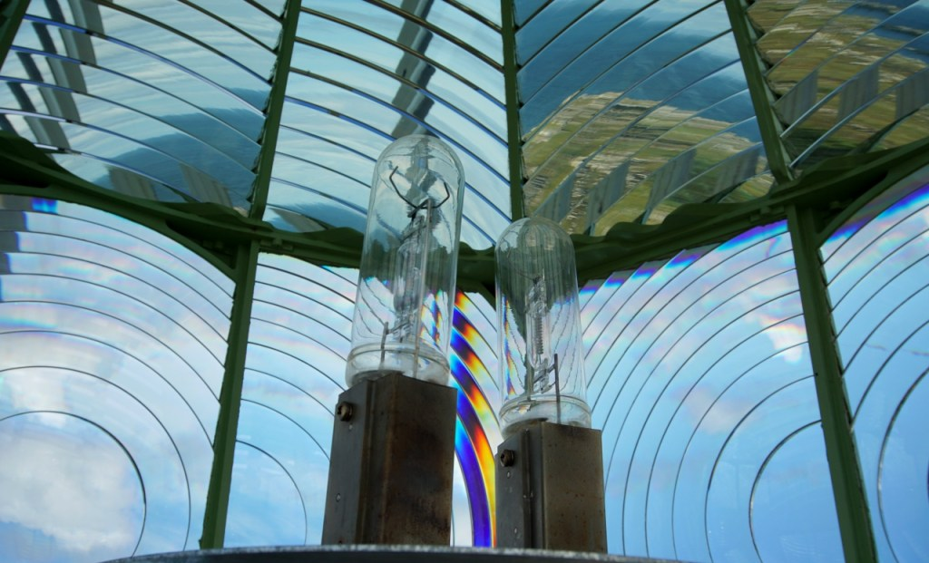 The inside of the lighthouse lantern showing the two bulbs