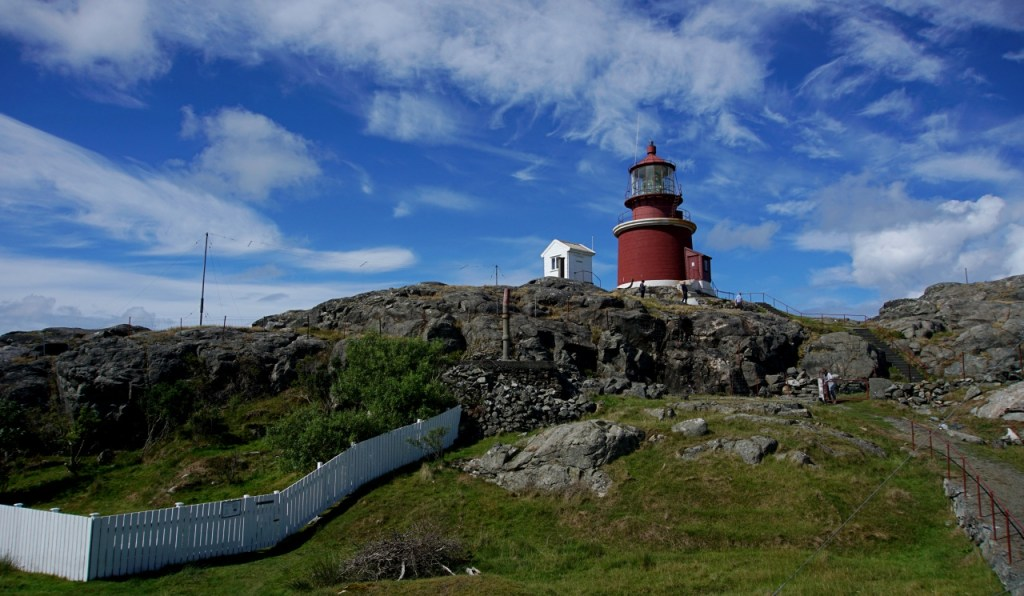 The red lighthouse at the top of the hill