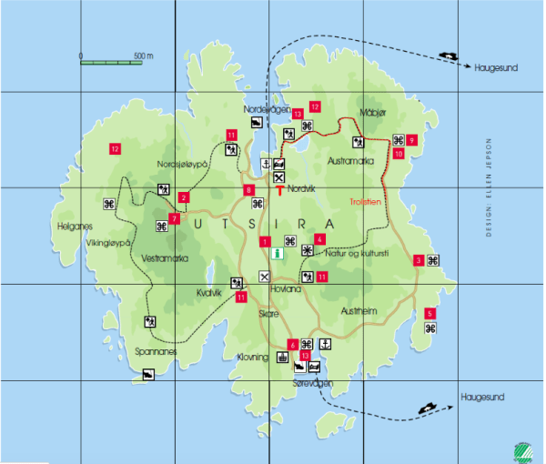 A green map of Utsira showing red dots marking main attractions and walking routes.
