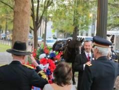 Raymond Weeks Monument: Col. Barefiield, Barbara Weeks Minor, Col. Dunn, Dr. Dyson and riderless horse