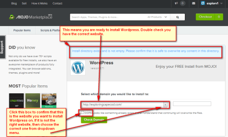 Confirm website for WordPress install