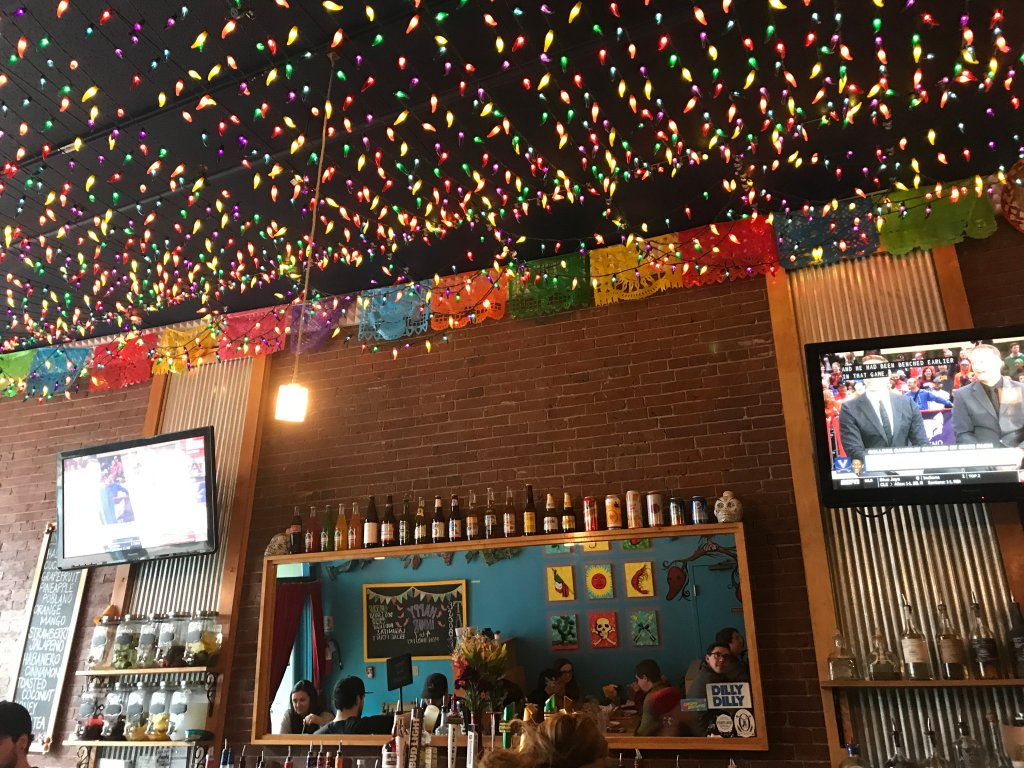 The bar at Taco Escobarr, one of the best bars in Portland, Maine.