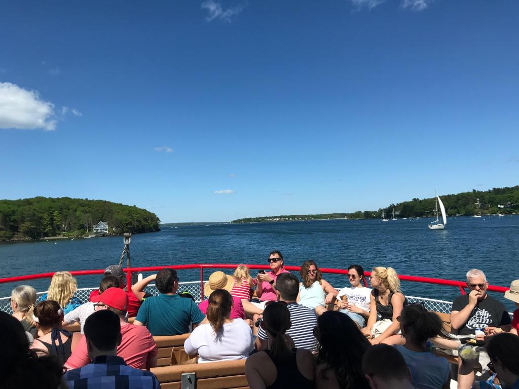 A view of the ocean and islands from the mail boat in Casco Bay off the coast of Maine.