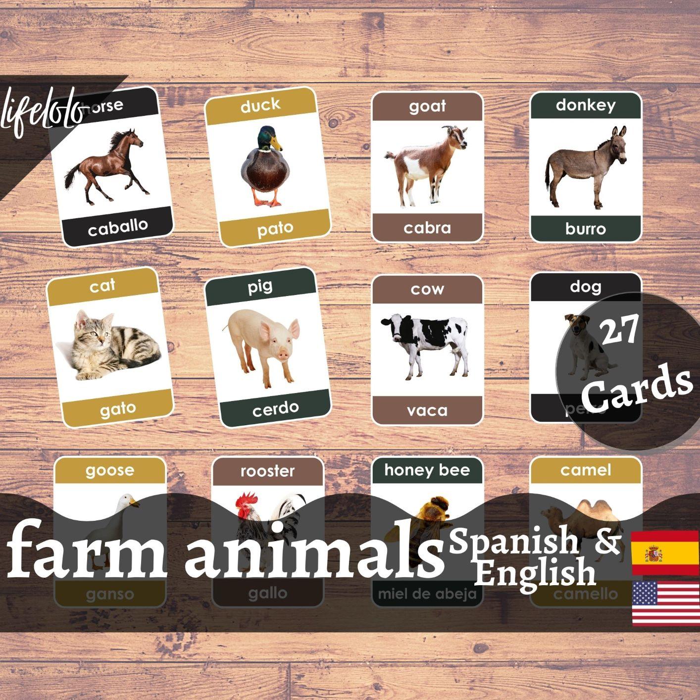 Farm Animals Spanish Flash Cards