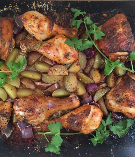 Roasted Chicken and Potatoes on Sheet Pan