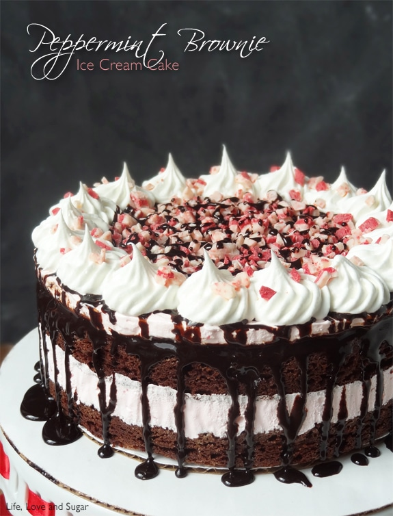 Peppermint Brownie Ice Cream Cake | The Best Christmas Dessert Recipe