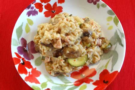 Bacon and mushroom risotto