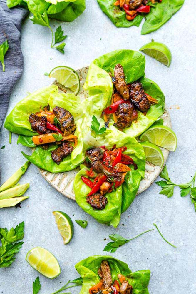 Stake Fajita Lettuce Wraps – fresh, flavorful and a healthier way to enjoy tacos or fajias! Less than 30 minutes to make with a homemade seasoning and perfect for lunch or a lightened up dinner for busy weeknights! They are also gluten free, low carb, Keto and Paleo friendly, whole 30 compliant and a healthy meal for your own Cinco de Mayo or Mexican fiesta