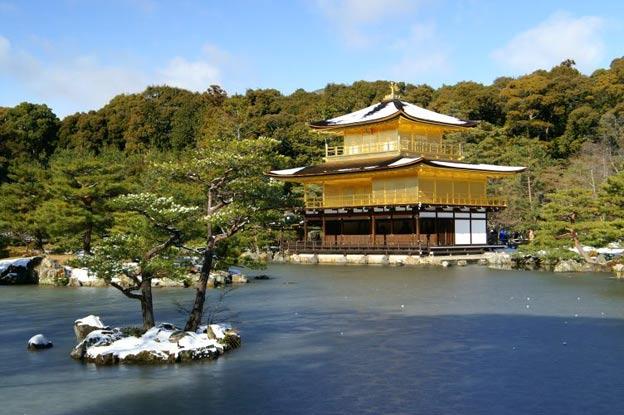 Киото ботанический сад японский сад пагода храм зима