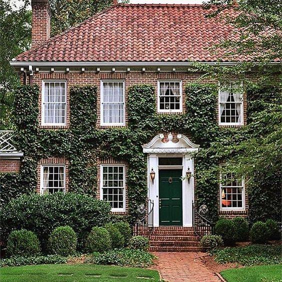 Фасад дома - вертикальное озеленение плющом