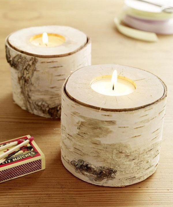 Свечи из ствола дерева