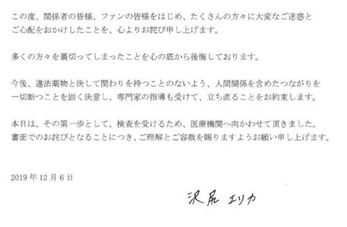 沢尻エリカ 謝罪文