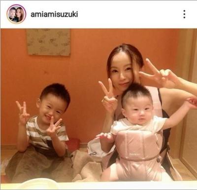 鈴木亜美と息子2人のインスタ画像