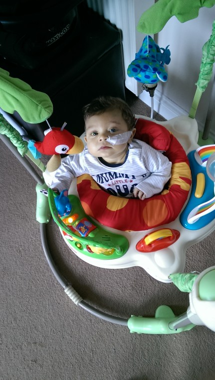 My grown up six-month-old bubba. Minus smiles. But still bouncing.
