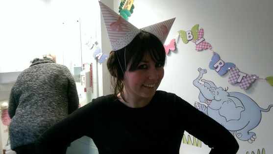 My sis, bringing the party spirit to the hospital.