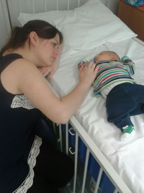 Our first day in hospital with Hugo, when he was two months old
