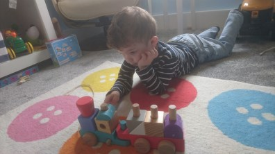 Morning chill with one of his many trains