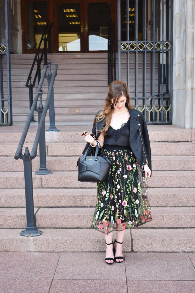 embroidered midi skirt | how to wear a midi skirt | midi skirt outfit fall | midi skirt outfit winter | midi skirt pattern | moto jacket outfit | embroidered outfit  | what to wear to NYFW