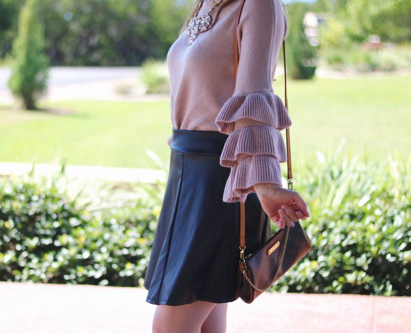 ruffle sleeve details | how to wear ruffles | leather and ruffles