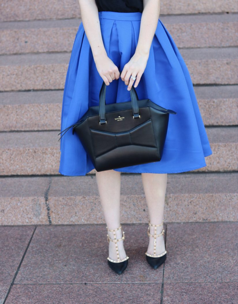 black-bow-bag-and-midi skirt
