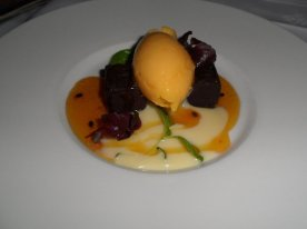 Black and white chocolate, clementine sherbet