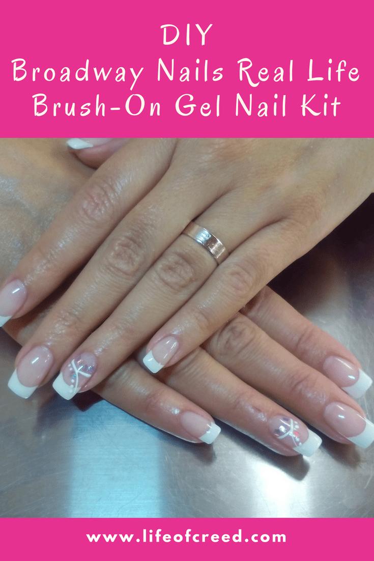At home nail kit. Broadway Nails Real Life Brush-on gel nail kit