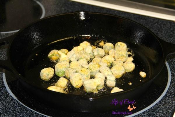Fried okra, French's Onion