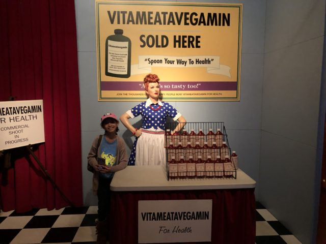 Charmingly CJ from Life of Creed with I Love Lucy wax figure at the Hollywood Wax Museum Pigeon Forge