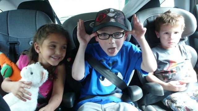 Kids in a car seat