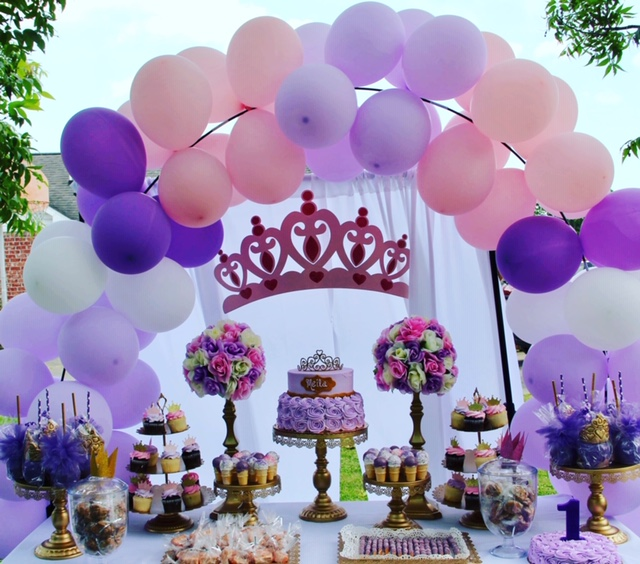 Pink and purple birthday decoration.