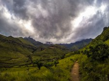 A wide angle, go pro shot of the Tugela River Trail heading towards the Gorge and Amphitheater.