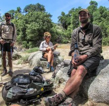 Hanging out at a desert water source on the PCT. ULA Circuit pictured!